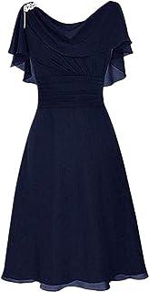 LOPILY Abendkleid Große Größen Damen Rüschen Kurzarm V-Ausschnitt Cocktail Kleid Hohe Taillen Rückenfreies Kleid Übergrößen Festliche Kleider für Damen Große Größen Kleid für Hochzeit Gast