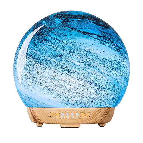MASEN 250ml Essential Oil Diffuser, Ultrasonic Cool Mist Humidifier with 3D Firework Glass, 7 Color Changing LED Night Lights Optional Timer Smart Shut Off (Color 4)