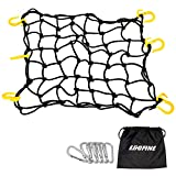 Egofine Motorcycle Cargo Net, 15.7' x 15.7' Stretch to 30' x 30' with 2'x2' Mesh, Super Duty Roof Cargo Net with 6 Plastic Hooks and 6 Metal Carabiners for Trailer, SUV, Motorcycle, ATV, Roof, Black