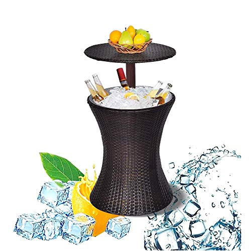 DODOBD Mesa de Jardín Enfriador Bebidas por Hielo, Mesa de jardín Enfriador Bebidas por Hielo Capacidad, mesilla Exterior, Taburete Soporte Bebidas, Resistente Intemperie