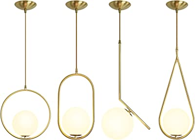 Modern Led Living Room Geometric Brass Chandeliers, Frosted Glass Shade Irregular Dining Room Chandelier, Adjustable Cord Industrial Style Pendant Lighting Bedrooms