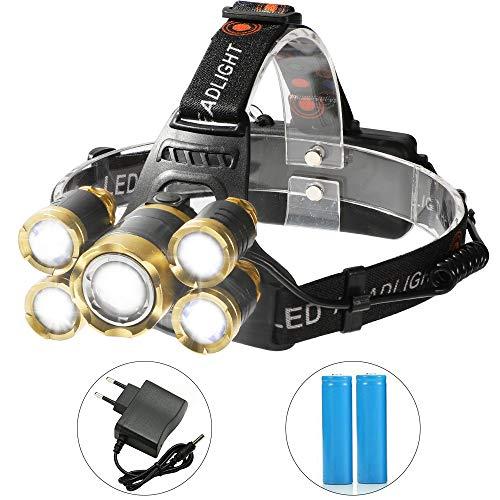Shanke Linternas Frontal LED Linternas de Cabeza Alta Potencia 8000 Lúmenes, 4...