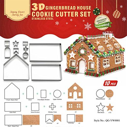 Gracelaza 10 Stück 3D Weihnachten Ausstechformen Edelstahl Ausstecher Set für Keks, Plätzchen, Tortendekorationen - Ausstechform aus Edelstahl für Torten Kekse Backen Küche Zubehör