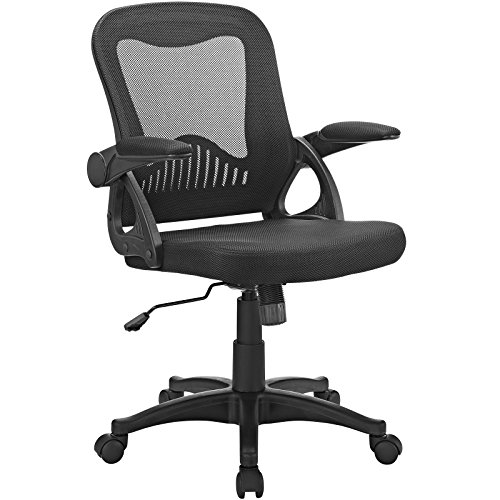 Modway Advance Mesh Ergonomic Computer Desk Office Chair in Black With Flip-Up Arms