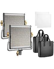 Neewer Dwupak przyciemnianych dwukolorowych lamp LED z uchwytem U do studia YouTube, zestaw oświetlenia wideo, wytrzymała metalowa rama, 480 diod LED, 3200-5600K, CRI 96+ (wtyczka EU)