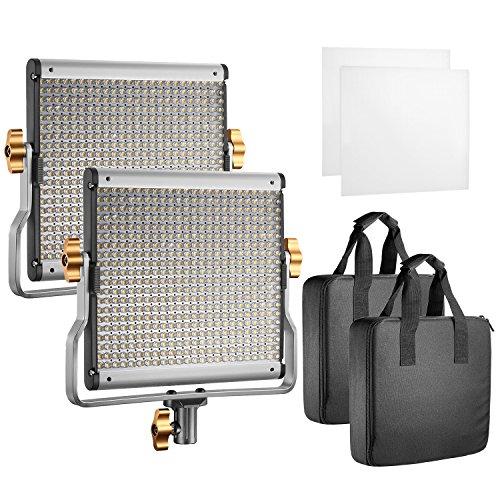 Neewer 2× LED Video Light Bi-colore Regolabile con Staffa U Kit per Studio, Ripresa Video YouTube, 480 LED Lampadine, 3200-5600K, CRI 96+ (Spina EU)