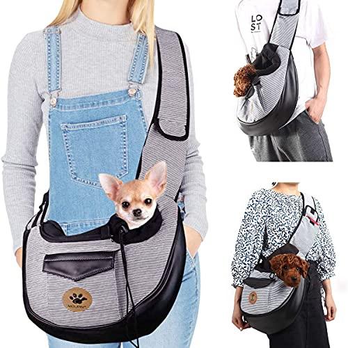 UniM Transportador de Mascotas Perro Gato Pequeño Cachorro Bolsos de Viaje Bolsa de Viaje Plegable Manos Libres Sling Mochila, Gris