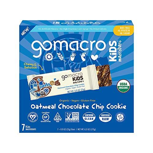 GoMacro Kids MacroBar (0.90 Ounce Bars), Oatmeal Chocolate Chip Cookie 7 Count