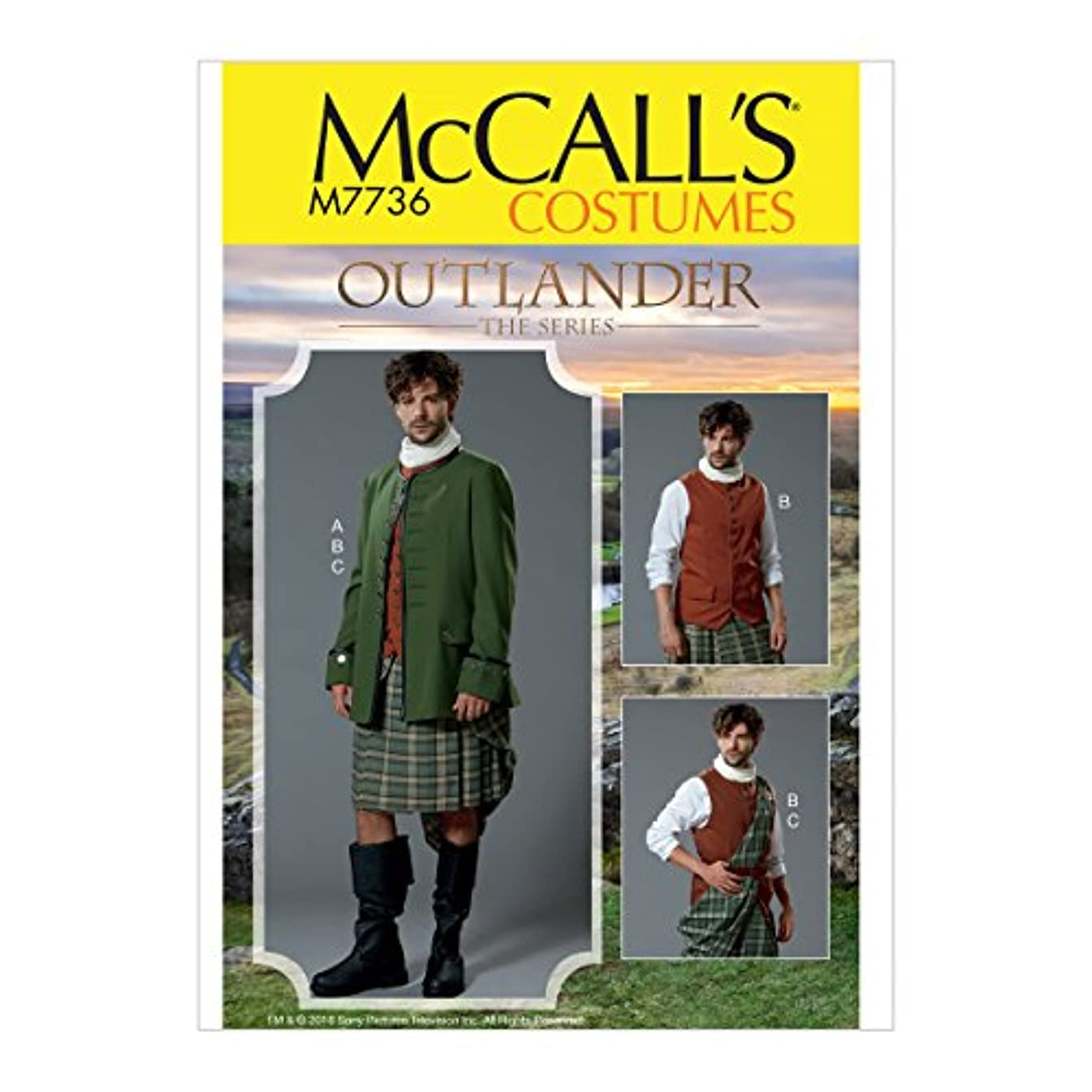 McCall Patterns M7736 MWW Men's Costume from Outlander: The Series, Size 38-40-42-44