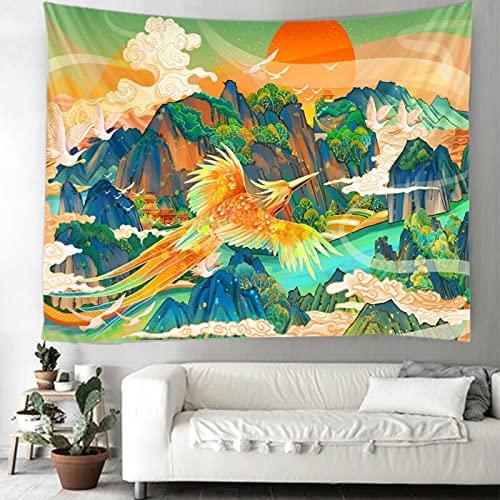 Tapiz colgante de pared manta art deco decoración familiar elk phoenix mural fondo tela colgante de pared revestimiento de pared A4 100x150cm