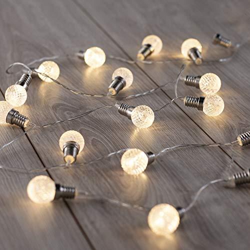 DecoKing 20er LED-Gartenleuchten Glühbirnen auf silbernem Draht warmes Weiß statisch batteriebetriebene LED Girlande Gartendeko Lou
