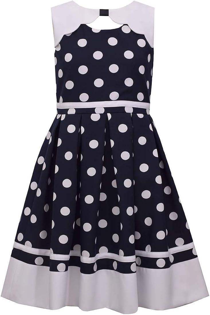 Bonnie Jean Girl's Nautical Dress Polka Dot Navy Blue Sailor Outfit
