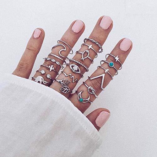 Zoestar Conjunto de anillos de dedo bohemios de plata con cristales de luna y anillo de nudillos para mujeres y niñas apilable con turquesa (paquete de 20)
