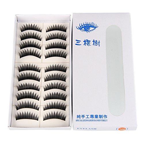 Beauty7 10 Paires Faux Cils Extension de Cils Manuel Yeux Long Volumineux Noir Naturel - 166
