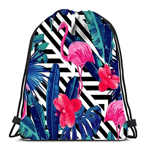 JDHFJ Bolsa con cordón Durable Drawstring Backpack Watercolor Tropic Pink Flamingos and Orchid with of Trendy Blue Floral Plant Jungle Palm for Carrying Around
