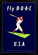 CANVAS ON DEMAND British Airways, Fly B.O.A.C, Vintage Poster Black Framed Art Print, 23