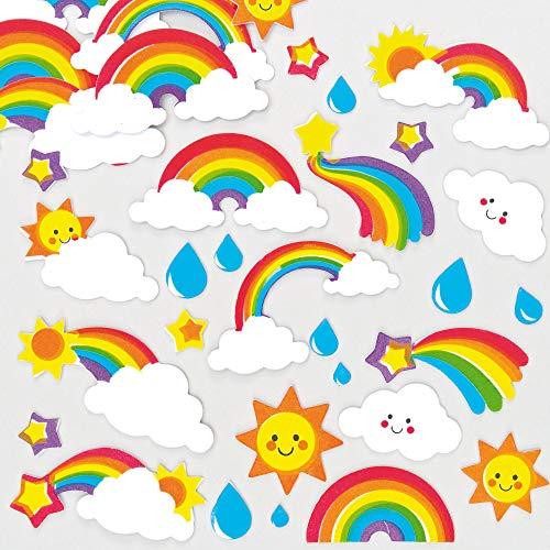 Baker Ross AF399 Regenbogen Moosgummi Sticker - 120 Stück, Schaumstoff Buchstaben Aufkleber für Kinder zum Basteln, Gestalten und Dekorieren
