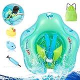 MANFO Baby Schwimmring, Baby Schwimmen Verstellbare Taille Infant Aufblasbare Schwimmer, Perfekt Schwimmtrainer für Kinder Von 6-30 Monaten mit Manuelle Pumpe und Rubber Squeaky Spielzeug