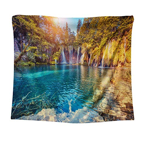 Tapices Forest Waterfall Paisaje Tapicería Lago de pared Colgante de pared Decoración de pared Paño de pared Decoración del hogar Yoga Manta de la playa Manta de la playa Paño de fondo, S / 100x150cm