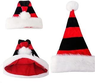 Happyjiu Christmas Hat Double plush Holiday Hat Stripe Santa Claus Cap Xmas Hat (black + Red)