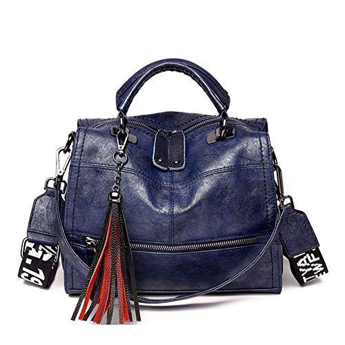 Handbag tassel shoulder bag ladies fashion wild messenger bag Vintage Handbag (Color : Blue)