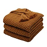 Mokoya Woven Cotton Throw Blankets, Soft Thick Cable Knitted Blankets, Knit Blanket for Couch,Sofa,Bed,Cozy Decorative Throw Blanket for Home, Coffee Brown Knitted Blanket(50'x60',Coffee)