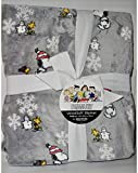 Peanuts Snoopy and Woodstock Christmas Snowflakes and Snowman Berkshire Blanket Queen