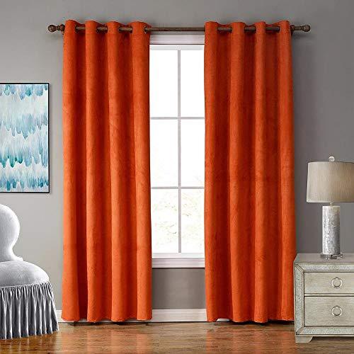 PENVEAT Sólido Naranja Lvory Princess Black out Persianas Slide Suede Fabric Cortinas de Ventana Calidad Gruesa Tamaño Personalizado Decorativo para Habitaciones, 52X84 Pulgadas