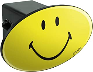 Graphics and More Smiley Smile Happy Yellow Face Oval Tow Hitch Cover Trailer Plug Insert 2