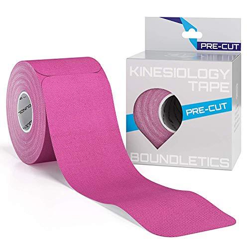Boundletics Kinesiologie Tape vorgeschnitten (5 x 25 cm) - 20 Streifen Physiotape Precut - wasserfest & elastisch - Kinesio Tapes mit Anleitung (Pink)