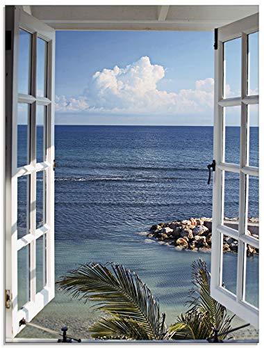 Artland Glasbilder Wandbild Glas Bild einteilig 45x60 cm Hochformat Strand Meer Küste Palmen Ausblick Natur Fensterblick Maritim Blau T9II