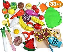 【UN MODO DELIZIOSO PER IMPARARE】 ---- Affettare e tagliare questi frutti, verdure e cereali splendidamente lavorati e dipinti soddisfa i sensi e aiuta a insegnare le capacità motorie e la coordinazione occhio-mano, e migliora la capacità di comunicaz...