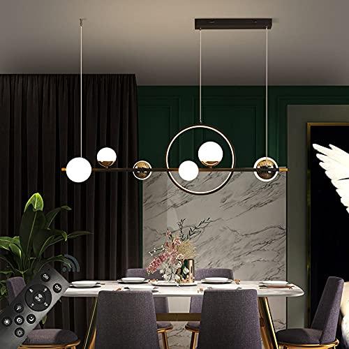 Lampada a Sospensione LED Moderno Nero lampadario tavolo da pranzo Lungo Striscia Squillare, Dimmerabile con Telecomando, Luce Pendente Paralume a sfera in acrilico, L112CM/66W Altezza Regolabile