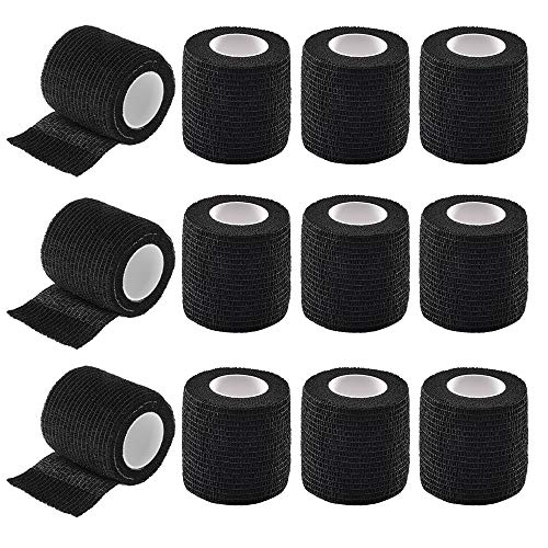 Autdor Tattoo Grip Cover Wrap - 12Pcs 2' x 5 Yards Disposable Cohesive Tattoo Grip Tape Wrap Black Elastic Bandage Rolls Self-Adherent Tape for Tattoo Machine Grip Tube Accessories, Sports Tape