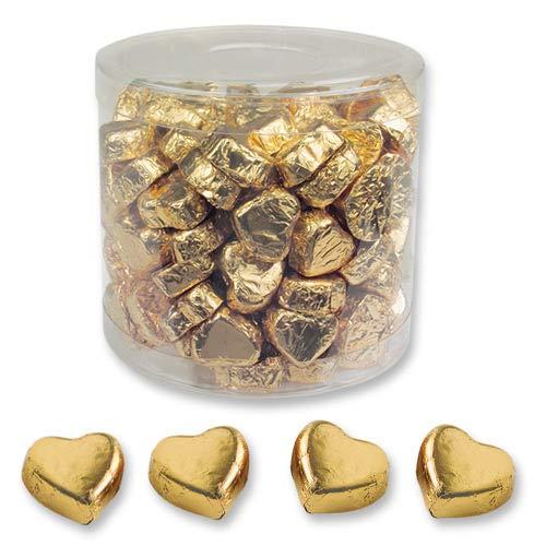1 Dose mit 150 Schokolade Herzen, gold, Pralinen Herzen
