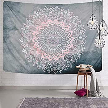 Mandala Tapestry Grey Pink Tapestry Hippie Bohemian Floral Tapestries Wall Hanging for Room Bedroom