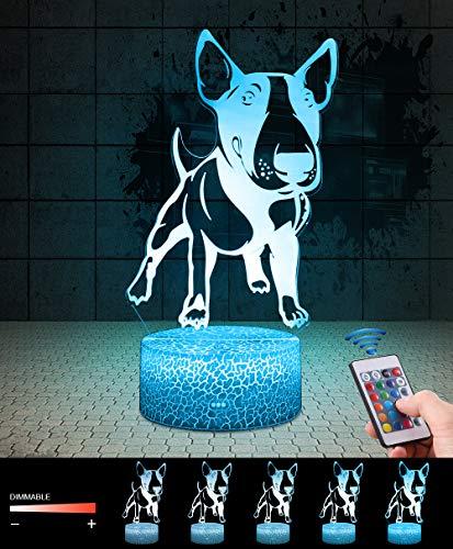 3D Hund Pitbull Lampe LED Nachtlicht mit Fernbedienung, QiLiTd 16 Farben Wählbar Dimmbare Touch Schalter Nachtlampe Geburtstag Geschenk, Frohe Weihnachten Geschenke Für Mädchen Männer Frauen Kinder