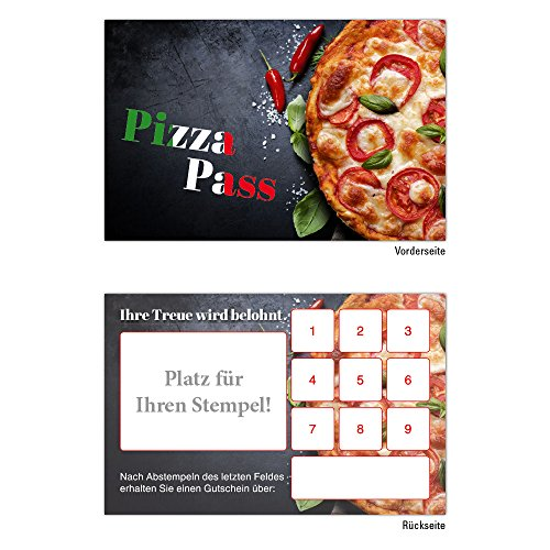 Premium Pizza Pasta Bonuskarten 500 Stk. mit 10 Stempelfeldern. Treuekarten passend für Bereiche wie Gastronomie, Restaurant, Weinhandel, Getränkehandel, Freizeit, Feier, Geschenk, Gaststätte Bäckerei