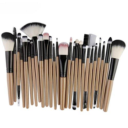 Kit De Pinceau Maquillage,Fulltime 25PCS Professionnel Pinceaux Maquillage pour Sourcils Fard à Paupières Blush Cosmétique Brosses (Jaune)