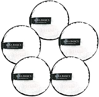 Reusable Makeup Remover Pads by Blika Basics - 5 Pack White Washable Microfiber Pads for Face - Cloth Rounds to Remove Mascara Foundation Lipstick and Eye Shadow - Eco-friendly wipes