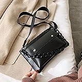 Mdsfe Vintage Fashion Female Chain Tote Bag 2020 Nuevo Bolso de diseñador de Cuero de PU Mujer Bolso de Viaje de Hombro - Negro