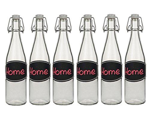hocz 6/10 Set Bügelflaschen Bügelflasche Glasflaschen | Füllmenge 500ml | Tafel-Etiketten Kreidetafel Tafelfolie T C | mit Bügelverschluss Selbstbefüllen | Grappa Likörflaschen (6 Stück)