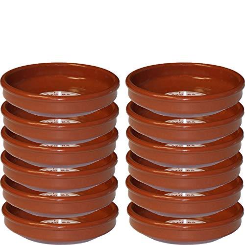 Pack de 12 cazuelas redondas de barro, diámetro exterior 16.8 cm, diámetro interior 15 cm, apta para vitro y horno