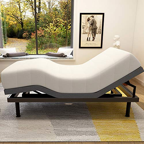 Adjustable Bed Base Frame Smart Electric Beds Foundation (Full, Gray)