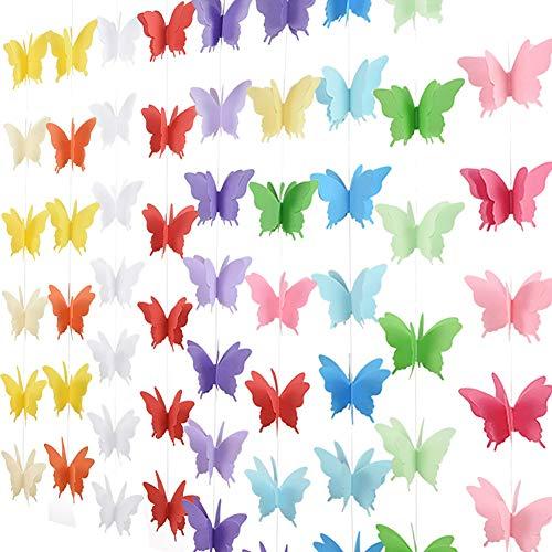 JIHUOO Paquete de 6 banderines de mariposa 3D decorativos de papel para bodas, baby shower, cumpleaños, decoración multicolor