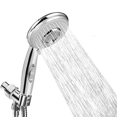 LEBEXY Duschkopf Druckerhöhend | Handbrause | Duschköpfe | Duschkopf Hochdruck Wassersparend mit An/Aus-Schalter, 5 verschiedenen Strahlarten Chrom-Duschkopf