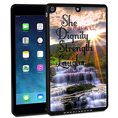 iPad 9.7 Inch 2017 Case,iPad Air Case,Rossy Shockproof Hard Shell Rubber Bumper Protective Case with Quotes Proverbs 31:25 Pattern and Kickstand for Apple iPad 9.7 Inch 5th Generation