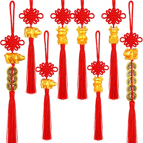 8 Pieces 2021 Chinese New Year Ox Pendant Year of Ox Cow Ornament with Chinese Knot Feng Shui Coins Cattle Mascot New Year Hanging Pendant for New Year Home Wealth Success Good Luck, 8 Styles