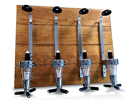 Corkside Bar Optics for Home bar Accessories for Home Pub - Wall Mounted Wooden Plaque 4 Bottle...