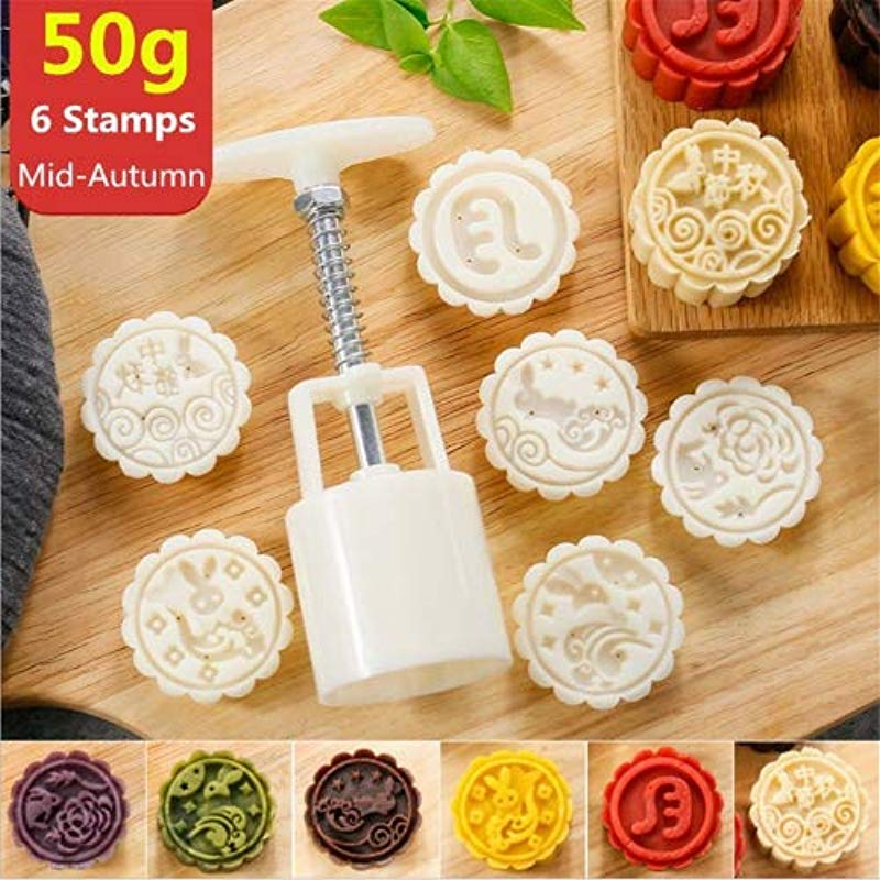 Mooncake Mold With 6 Stamps Mid Autumn Festival Moon Cake Mold DIY Decoration Cookie Press 50g White 1 Mold 6 Stamps
